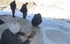 Başkale'deki travertenlerin kış manzarası