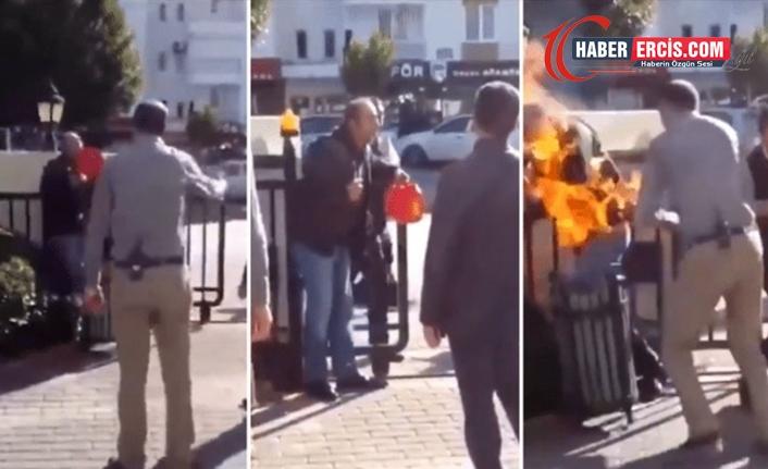 AKP'li belediye önünde kendini ateşe verdi