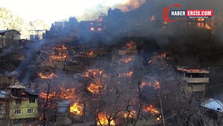 Artvin'de yangın tüm köyü sardı