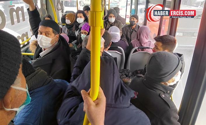 Erciş'te toplu taşıtlar yurttaşların sağlığını hiçe sayıyor