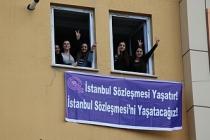 Van'da İstanbul Sözleşmesi kararına pankartlı tepki