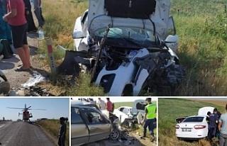 Tarım işçilerini taşıyan iki araç kaza yaptı:...