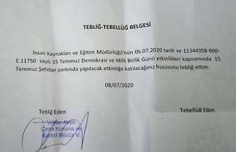Van'da çalışanlara '15 Temmuz' etkinliklerine katılım zorunluluğu