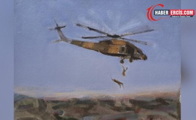 Ressam Çelik Van'da helikopterden atılan 2 yurttaşı çizdi